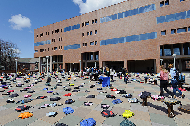The display of 1,100 empty backpacks, representing the number of college students who die by suicide each year, is intended to raise awareness that suicide is the number two killer of U.S. college students. (Peter Morenus/UConn Photo)