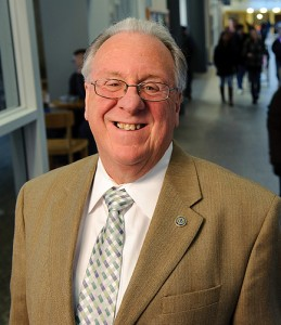 M. Kevin Fahey, associate director of the Student Union, on Union Street. (Peter Morenus/UConn Photo)