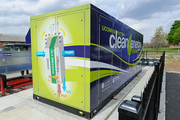 The natural gas fuel cell outside the Center for Clean Energy Engineering will also support UConn's microgrid. (Peter Morenus/UConn Photo)