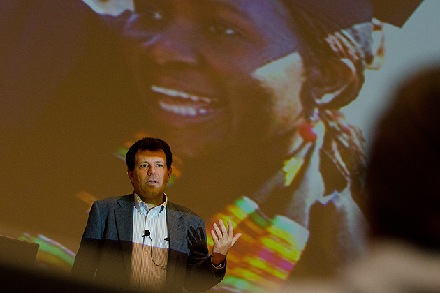 Nicholas Kristof, a New York Times columnist and co-author of Half the Sky speaks at the first annual UConn Reads Author Event at the Student Union Theater on April 19, 2012. (Peter Morenus/UConn Photo)