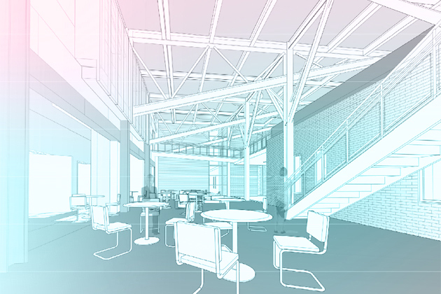 An architect's rendering of the atrium in the Bousfield Psychology Annex.