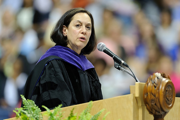 Joette Katz '€™77 JD, commissioner of the state Department of Children and Families, gives the address during the late afternoon College of Liberal Arts and Sciences commencement ceremony held at Gampel Pavilion on May 6. (Peter Morenus/UConn Photo)