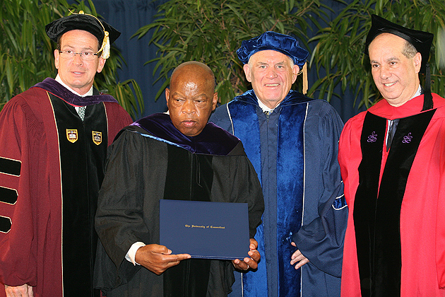 Governor Dannel P. Malloy, US Congressman John Lewis, Chairman of UConn's Board of Trustees Lawrence D. McHugh, and Dean of the Law School Jeremy Paul (Tina Covinsky for UConn)