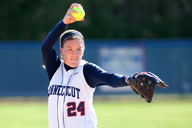 Pitcher Kiki Saveriano '13(CLAS) pitched 157 innings, with 137 strikeouts, and has a 3.25 earned run average this season. (Steve Slade for UConnn)