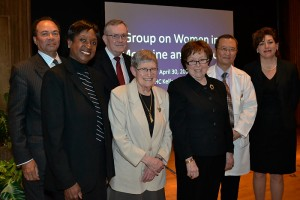 (Left to right) Health Center Board of Directors Chairman Sanford Cloud Jr., GWIMS Chair Dr. Marja Hurley, former UConn President Phil Austin, Dr. Martha Lepow, Dr. Naomi Rothfield, Dr. Bruce Liang, and UConn President Susan Herbst. (Tina Encarnacion/UConn Health Center Photo)