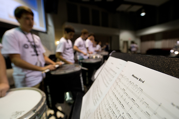 A drummer's sheet music seen during a practice session at the Yamaha Sounds of Summer held at the Music Building on June 26, 2012. (Peter Morenus/UConn Photo)
