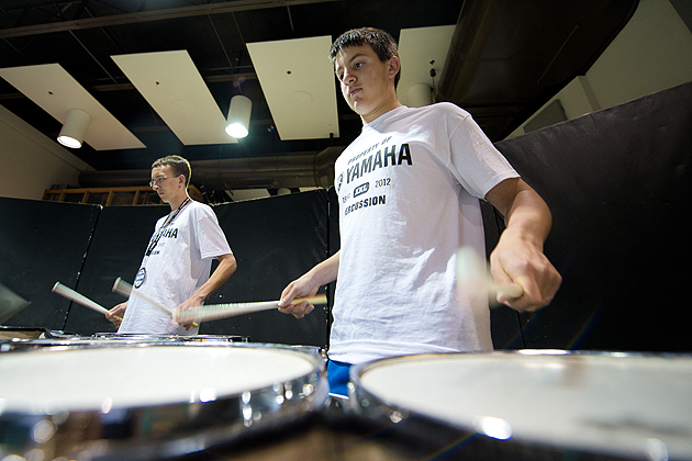 Tenor drummers Brandon Hirschfield, right, and Zack Kaesman both of Trumbull, practice during the Yamaha Sounds of Summer held at the Music Building on June 26, 2012. (Peter Morenus/UConn Photo)