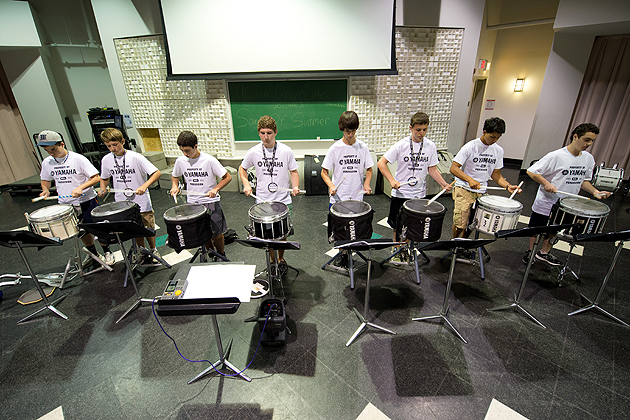 Drummers practice during the Yamaha Sounds of Summer held at the Music Building on June 26, 2012. (Peter Morenus/UConn Photo)