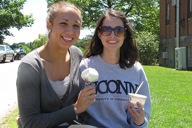 When they were told the dairy bar was going to stay open later every night, Rebekah Lohners '15 HDFS (left) and Brittany LaRose '14 HDFS said in unison