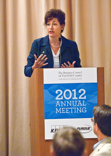 President Susan Herbst addresses the annual meeting of the Business Council of Fairfield County on June 22. (Business Council of Fairfield County Photo)