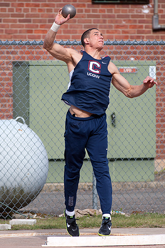 Shot put is one of 10 sports in the two-day competition. (Steve Slade '89 (SFA) for UConn)