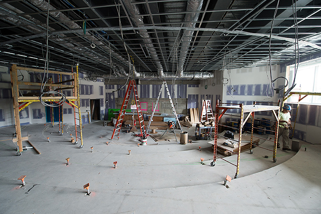 A view of the 174-seat auditorium in the Widmer Wing. (Peter Morenus/UConn Photo)