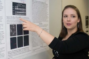 Erin Boisvert, Ph.D. student, Department of Genetics and Developmental Biology, won first place in the Graduate Student Research Day poster contest. (Tina Encarnacion/UConn Health Center Photo)