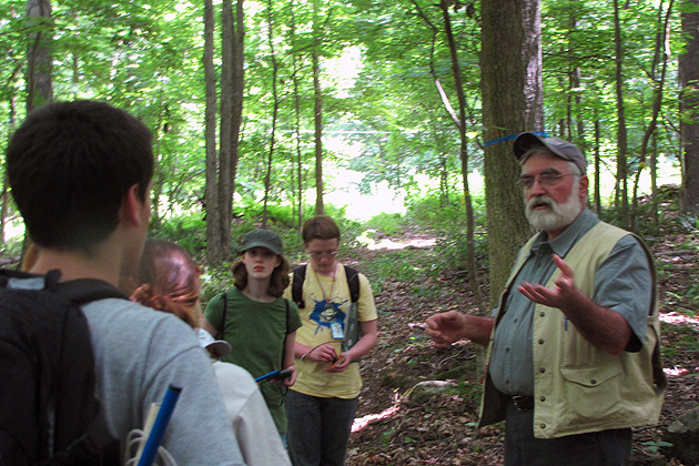 Tom Worthley, assistant professor in the Department of Extension, explains the basics of forest management. (Sheila Foran/UConn photo)