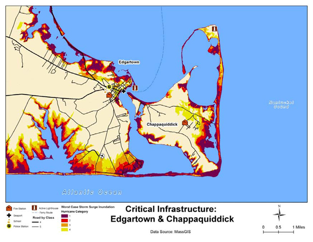 A map showing critical infrastructure around Edgartown and Chappaquiddick.
