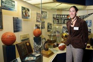 Rebecca Lobo visits the J. Robert Donnelly Husky Heritage Sports Museum at UConn. (Peter Morenus/UConn Photo)