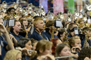 The UConn Marching Band provided stirring musical selections at Convocation. (Peter Morenus/UConn Photo)