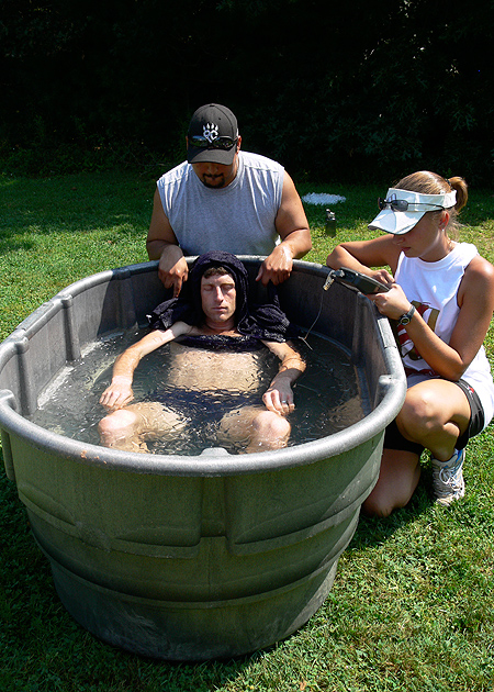 Whole body immersion in ice water is one of the best ways to treat exertional heat stroke. (Photo courtesy of Douglas J. Casa/KSI)