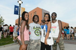 Students celebrate the start of the new semester following Convocation. (Peter Morenus/UConn Photo)