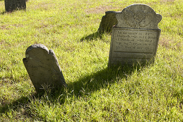 Gravestones from the Congregational Church of Storrs Cemetery on Aug. 30, 2012. (Sean Flynn/UConn Photo)