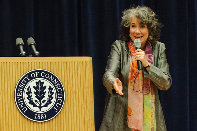 UConn professor and author Regina Barreca speaks at the Student Union on Family Weekend on Sept.5, 2012. (Max Sinton '15 (CANR)/UConn Photo)