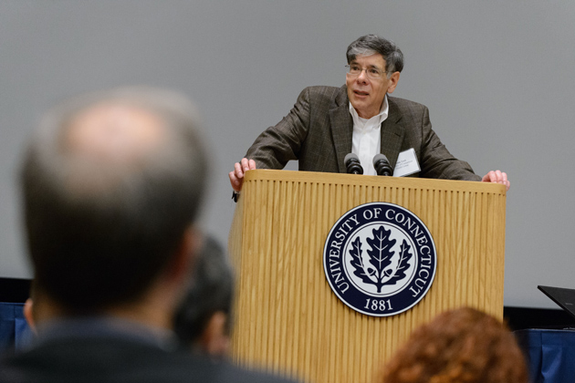 Frank Torti, executive vice president for health affairs and dean of the School of Medicine, gives opening remarks. (Peter Morenus/UConn Photo)