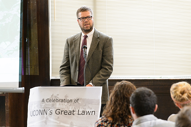 Mark Westa, associate professor of plant science and landscape architecture, announced that three new trees are being added to the landscape of the Great Lawn. (Peter Morenus/UConn Photo)