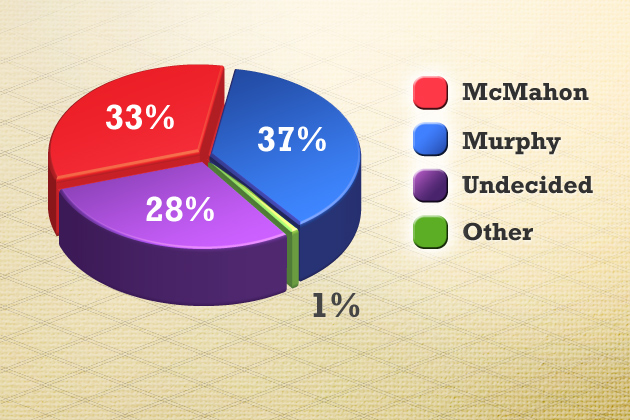 "US Senate candidates' support across Connecticut, statewide. Question: ""And thinking about the U.S. Senate race in Connecticut in November, will you vote for Linda McMahon, the Republican; Chris Murphy, the Democrat; someone else; or haven't you decided yet?"" Source: Survey by the University of Connecticut/Hartford Courant of 517 likely Connecticut voters, Sept. 11-Sept. 16, 2012."