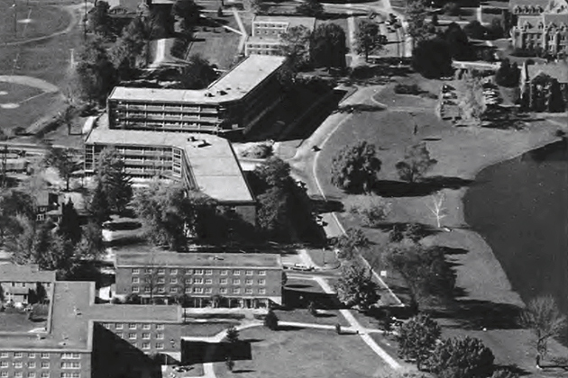 Arjona and Monteith, in center of photo, were constructed in 1959 during the presidency of Albert Jorgensen. (Photo from Archives & Special Collections, UConn Libraries)