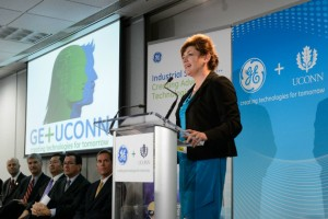 President Susan Herbst spoke of the commitment to research and scholarship inherent in the UConn/General Electric collaboration. (Peter Morenus/UConn Photo)