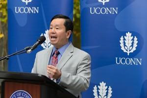 Interim provost Mun Choi spoke about the research opportunities available in the new classroom building. (Peter Morenus/UConn Photo)