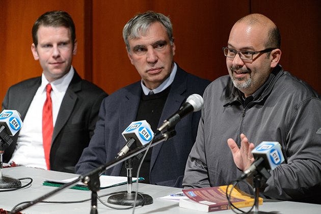 Charles Venator Santiago, assistant professor of Political Science, right, speaks during a panel discussion on election results at Konover Auditorium on Nov. 7, 2012. At left are Stephen Dyson and Ronald Schurin. (Peter Morenus/UConn Photo)