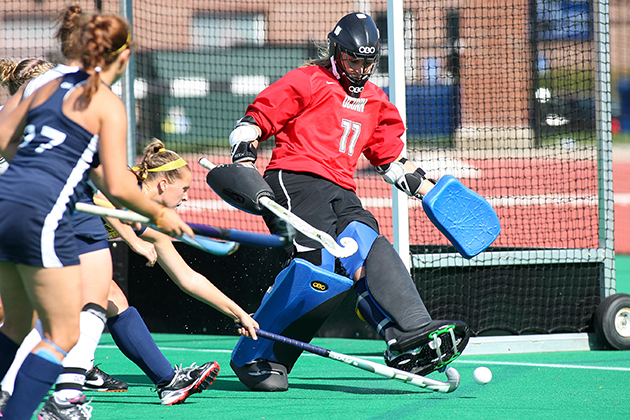 All-American Sarah Mansfield '•13 (CLAS) is among the nation's top field hockey goalkeepers. (Steve Slade '89 (SFA) for UConn)
