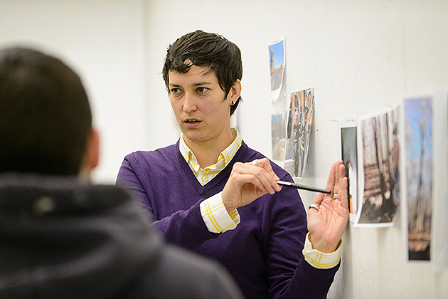 Alison Paul leads a critique during an illustration class at the Art Building on Nov. 8, 2012. (Peter Morenus/UConn Photo)