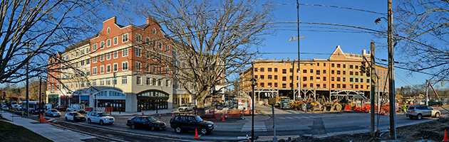 A panoramic view of the new Storrs Center, with businesses open on Dog Lane, left, and 1 Royce Circle under construction. (Peter Morenus/UConn Photo)