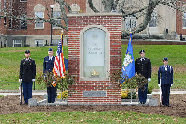 On Veteran's Day, 2012, ROTC members stand at attention at the Remembrance Memorial. (Max Sinton'15 (CANR)/UConn Photo)