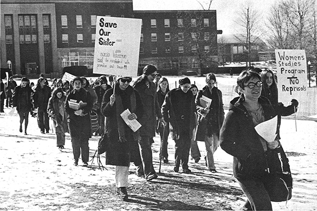A demonstration on the Student Union Mall in the early 1970s was part of a climate of activism on women's issues that surrounded the founding of the Women's Center. (Nutmeg Yearbook Photo)