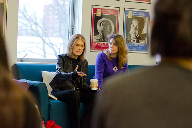 Gloria Steinem speaks at a student meeting held in the Women's Center on Nov. 30, 2012. (Ariel Dowski/UConn Photo)