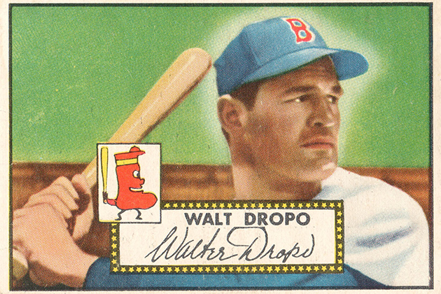 Walt Dropo '48 (CLAS), a three-sport star at UConn who played 13 seasons in Major League Baseball, was the first Husky ever to appear on a trading card.