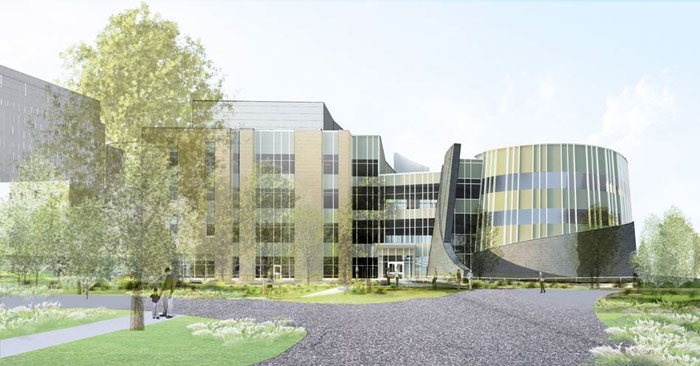 Architectural rendering of The Jackson Laboratory for Genomic Medicine to be built on the campus of the UConn Health Center in Farmington.