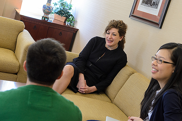 President Susan Herbst talks with students during her office hours in Gulley Hall. (Ariel Dowski/UConn File Photo)
