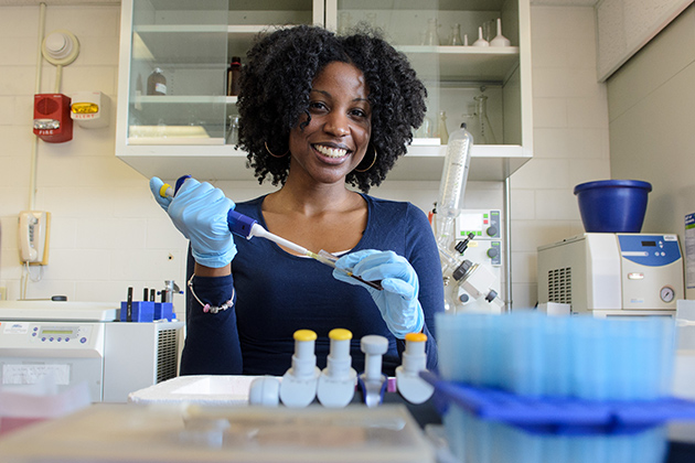 Patrice Hubert '12 (CANR), '16 Ph.D. in her lab in the Roy E. Jones Building on March 1, 2013. (Ariel Dowski/UConn Photo)