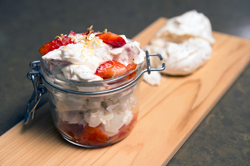 Joel Gamoran's Strawberry Poppy Eton Mess. (Peter Morenus/UConn Photo)