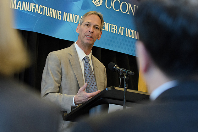 Paul Adams, chief operating officer of Pratt & Whitney, speaks at an event on campus on April 5. The company has already invested $4.5 million in the new Pratt & Whitney Additive Manufacturing Innovation Center at UConn. (Ariel Dowski '14 (CLAS)/UConn Photo)