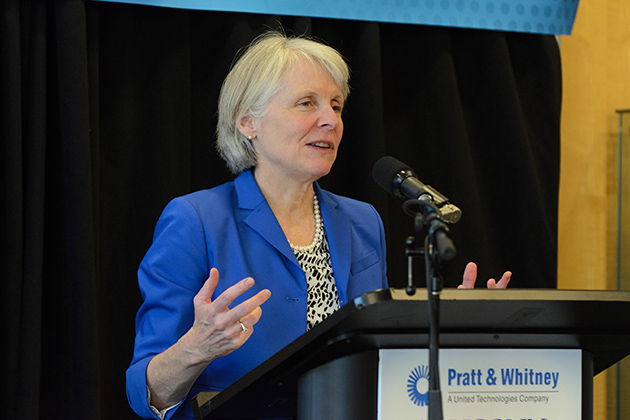 Catherine Smith, Connecticut Commissioner of Economic and Community Development, speaks about the relationship between the state, the private sector, and institutions of higher learning as part of Gov. Malloy's economic development strategy. (Ariel Dowski '14 (CLAS)/UConn Photo)