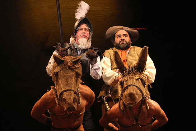 Terrence Mann (left) as Don Quixote with UConn SFA alum Richard Ruiz as Sancho Panza in Connecticut Repertory TheatreÕs Nutmeg Summer series production of Man of La Mancha. (Gerry Goodstein for UConn)