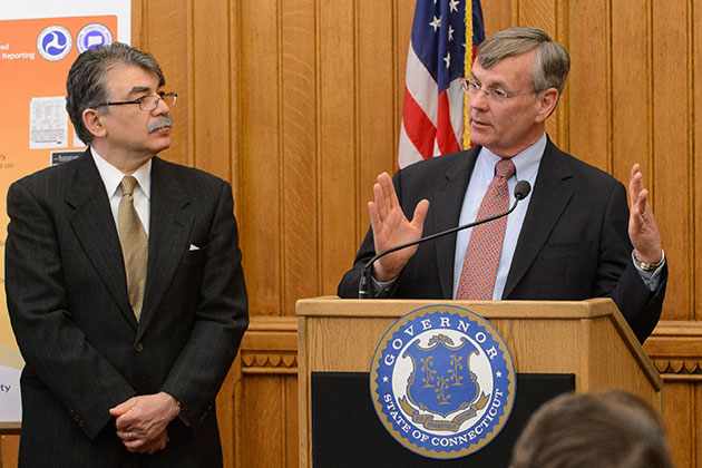 James P. Redeker, commissioner of the Connecticut Department of Transportation, speaks at the press conference. (Peter Morenus/UConn Photo)