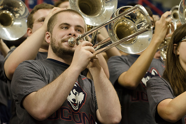 The UConn pep band plays during an event held at Gampel Pavilion to unveil new athletic uniforms on April 18, 2013. (Peter Morenus/UConn Photo)