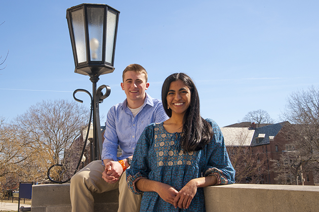 Ragini Phansalkar (CLAS & ENGR '14) dual-degree student majoring in computer science and biology with Nicholas Gallo (CLAS '14) majoring in physiology and neurobiology with minors in mathematics and molecular and cell biology on April 8, 2013. (Sean Flynn/UConn Photo)