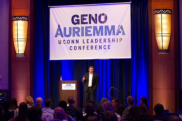 UConn women's basketball head coach Geno Auriemma speaks at the Geno Auriemma UConn Leadership Conference on April 29. The two-day event took place at the Mohegan Sun Convention Center in Uncasville, Conn. (Steve Slade '89 (SFA) for UConn)